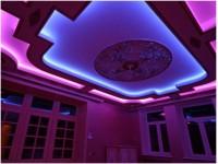 Двухйорвневый натяжной потолок с подсветкой фиолет и розовый