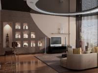 Натяжные потолки в зале, гостинной_34